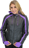 LC6555 Women's Motorcycle Leather Jacket with Removable Purple Hoodie, Purple Accesnts  Front View