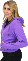 LC6555 Women's Motorcycle Leather Jacket with Removable Purple Hoodie, Purple Accesnts Hood Side View