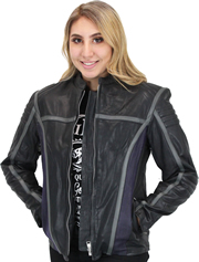 LC6802 Women's Motorcycle Leather Jacket with Purple and Grey Accents