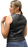 LV6890 Ladies Leather Vest with Purple Paisley Inside Liner Panel Back View