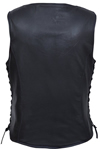LV6890 Ladies Leather Vest with Purple Paisley Inside Liner Panel Back View2