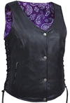 LV6890 Ladies Leather Vest with Purple Paisley Inside Liner Panel Front View2