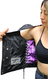 LV6890 Ladies Leather Vest Short with Purple Paisley Inside Liner Panel Liner View