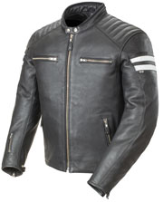 C92 Classic Mens Black Leather Scooter Jacket with Racing Stripes