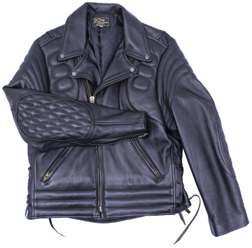 102XP Mens Vintage Pattern Stitching Motorcycle Leather Jacket Made in the USA Larger View