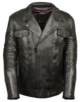 C1018T Mens Tall Size Motorcycle Utility Pockets Leather Jacket Main View