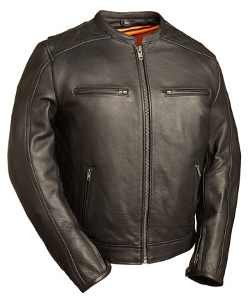 C1550 Distressed Brown Biker Leather Jacket with Tripple Stitch Detailing