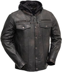 B276 Distress Lambskin Motorcycle Shirt with Vents and Removable Hood