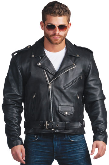 C100 Men's Cowhide Basic Biker Jacket with Half Belt and Zipout Liner