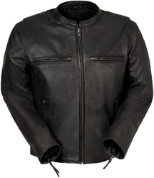C278 Black Leather Short Collar Motorcycle Jacket with Vents