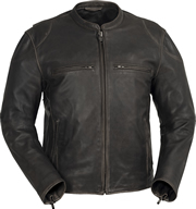 C278 Vintage Brown Leather Short Collar Motorcycle Jacket with Vents