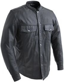 C404 Mens Leather Shirt with Mandarin Collar and Hidden Zipper