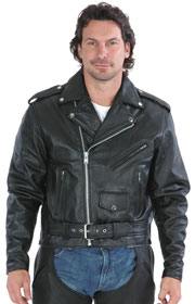 C40 Men's Light Goatskin Basic Motorcycle Jacket with Zipout Liner