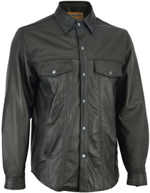 C770 Mens Lightweight Leather Shirt with Snaps and Gun Pockets