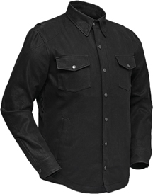 DM423 Mens Jet Black Denim Shirt with Cropped Center Zipper