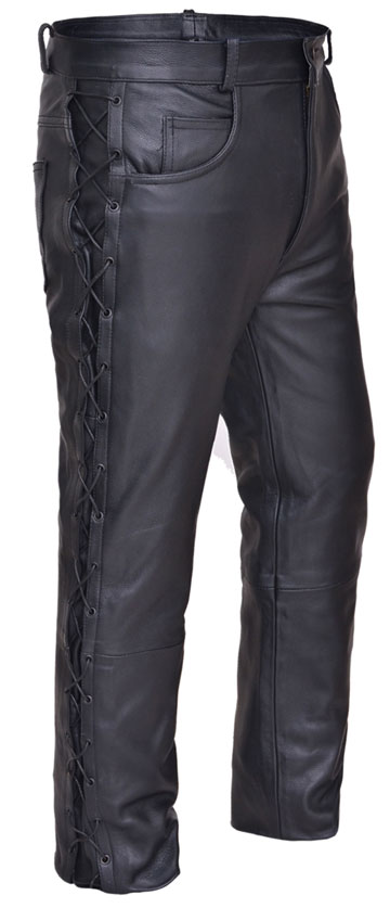 P751 Mens Leather Jean Style Pants with Adjustable Side Laces