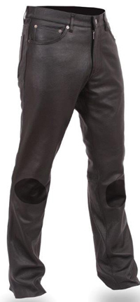 P819 Mens Leather Pants with Knee Reinforced Pads
