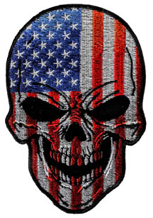 Red, White and Blue USA Flag Skull Motorcycle Patch