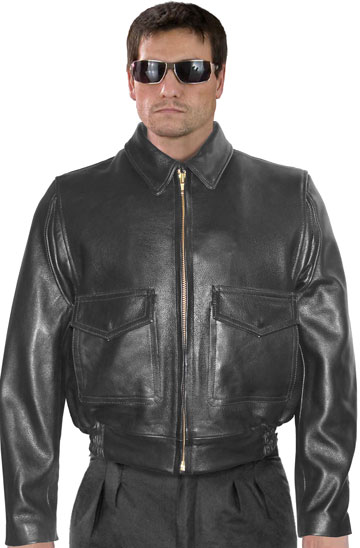 G1 Police Leather Bomber with Leather Zipper Sleeves and Waistband