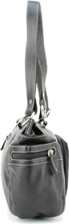 Click Here for the Purse - 9023 Leather Top Zipprer Double Strap Shoulder Bag Black Side View